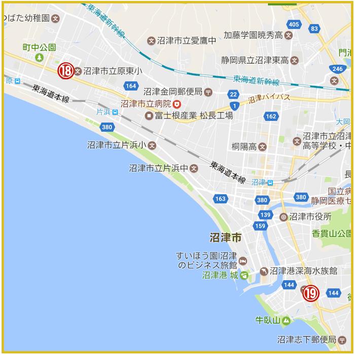 静岡県沼津市にあるアコム店舗・ATMの位置(2021年4月27日版)
