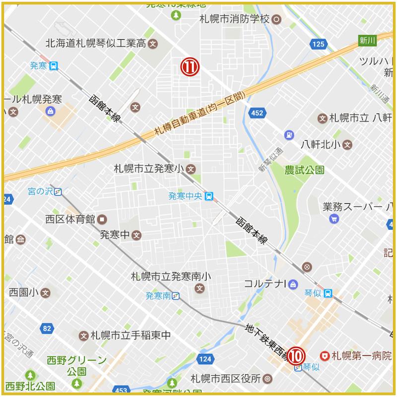 札幌市西区にあるアコム店舗・ATMの位置(2021年版)