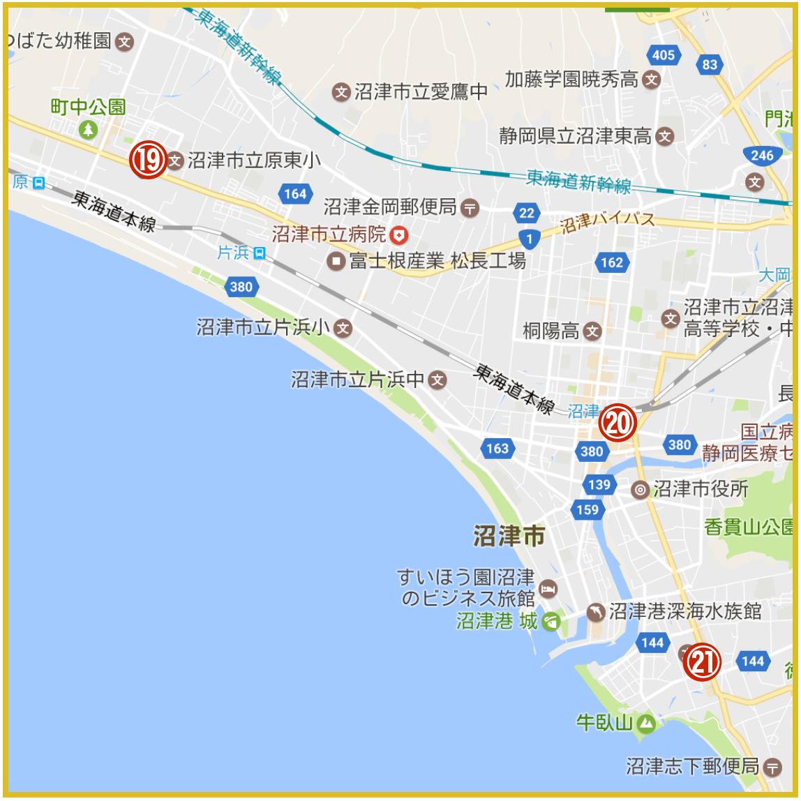 静岡県沼津市にあるアコム店舗・ATMの位置(2021年版)