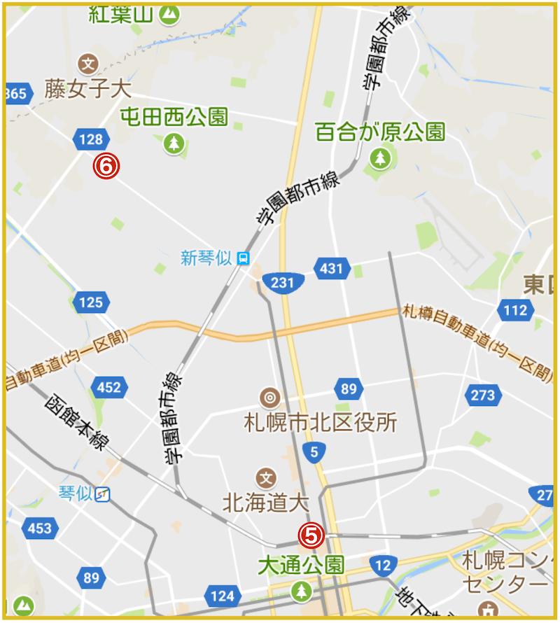 札幌市北区にあるアコム店舗・ATMの位置(2021年版)