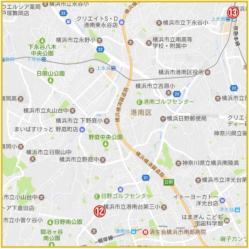 横浜市港南区にあるアコム店舗・ATMの位置(2021年版)