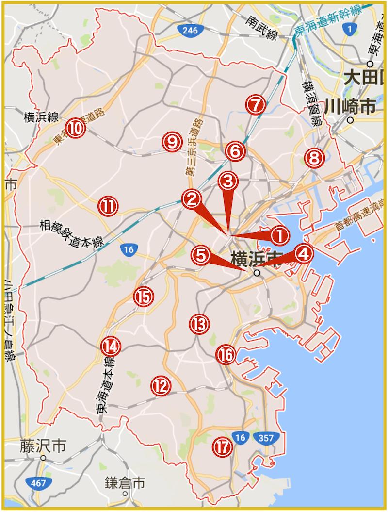横浜市にあるアコム店舗・ATMの位置(2021年版)