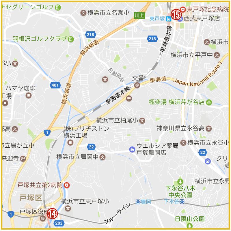 横浜市戸塚区にあるアコム店舗・ATMの位置 (2021年版)