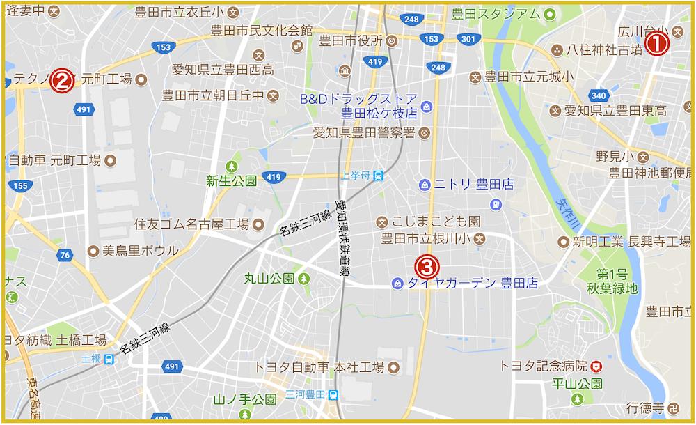 豊田市にあるアコム店舗・ATMの位置