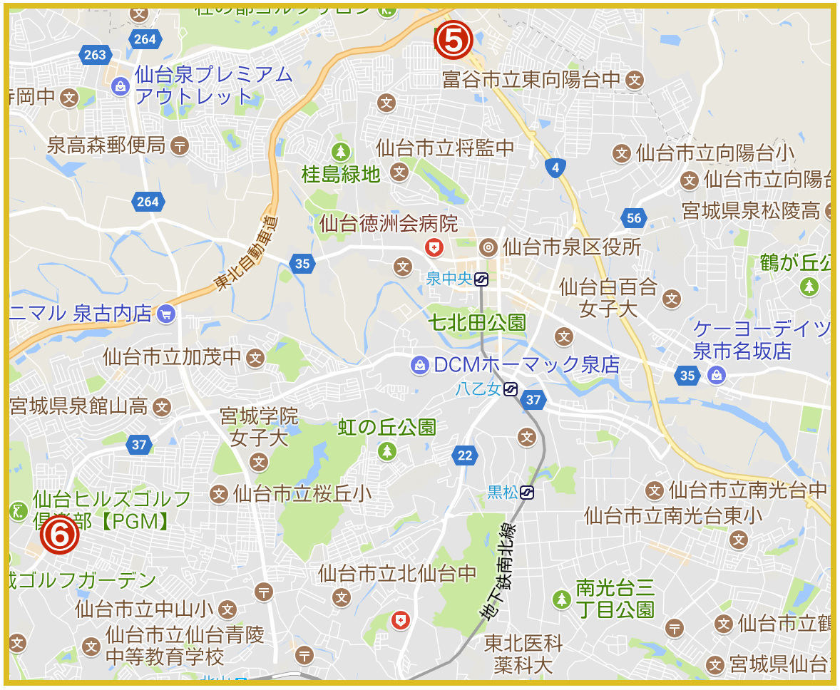 仙台市泉区にあるアコム店舗・ATMの位置(2021年版)