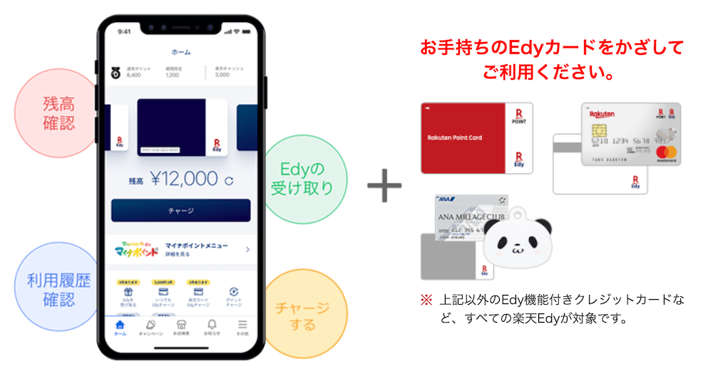 iPhone版Edyカード用楽天Edyアプリの説明画像