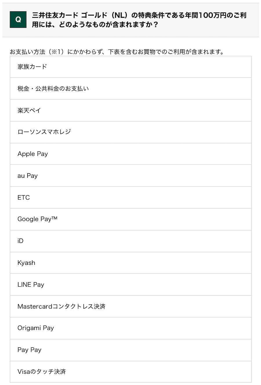 三井住友カード ゴールド(NL) 特典条件である年間100万円の利用対象